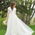A-Line Lace Tulle Beach Modest Wedding Dresses Short Sleeves Cheap Simple Summer