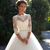 2019 Wedding Dresses Country Lace Bateau Neck A-line Half Sleeves Button Back