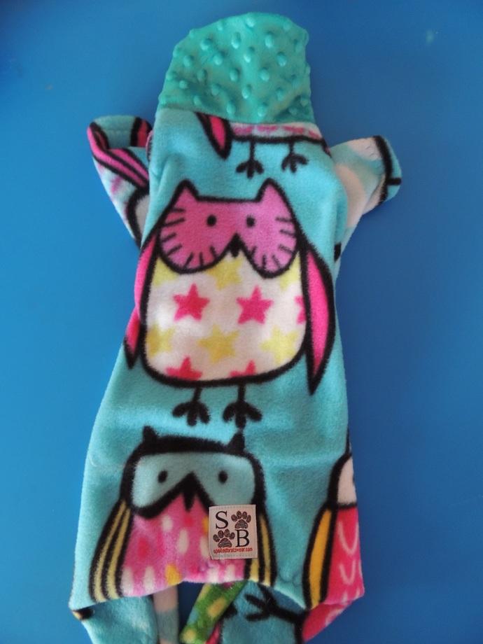 MEDIUM Owlie Fleece and Minky Dog PJs