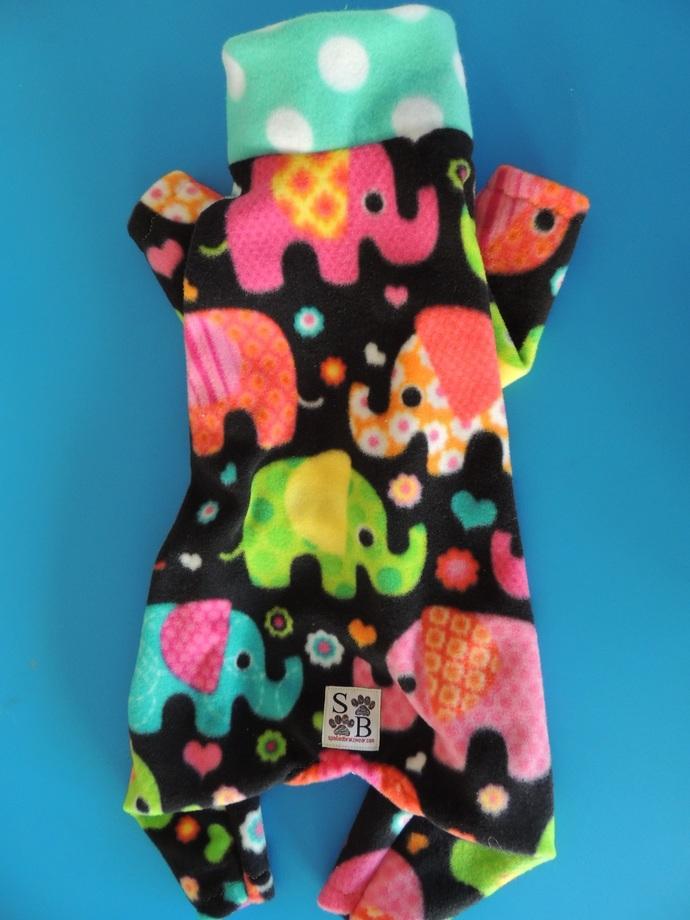 LARGE Elephant Pop Fleece Dog PJs
