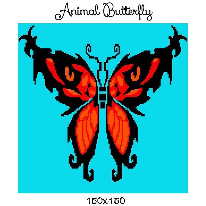Animal Butterfly Blanket Crochet Graph Pattern