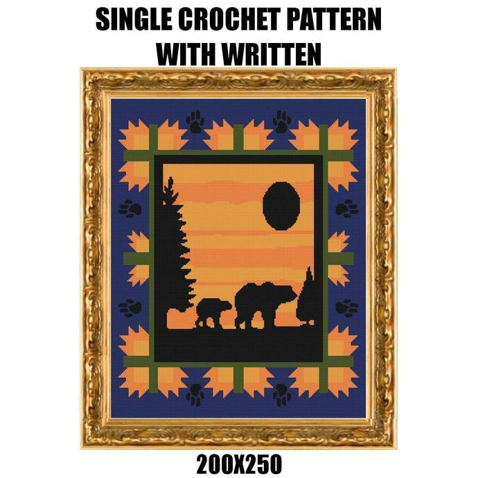 Bear Sunshine Blanket Crochet Graph Pattern