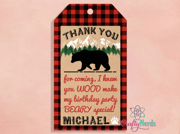 Lumberjack Red Plaid Birthday 10 Thank You Tag, Lumberjack Red Plaid Party,