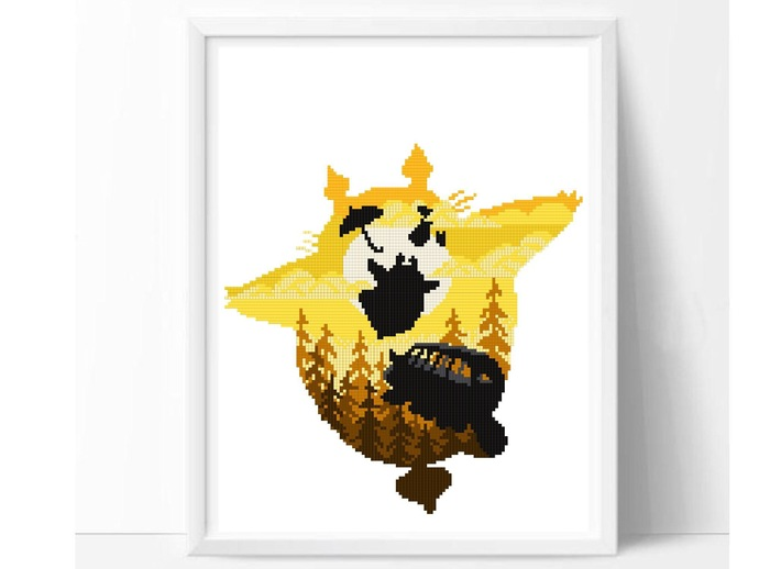 Cute Character silhouette modern cross stitch pattern, anime movie inspired,