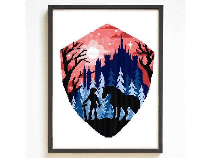 Game inspired silhouette modern cross stitch pattern, hero, nature, legend,