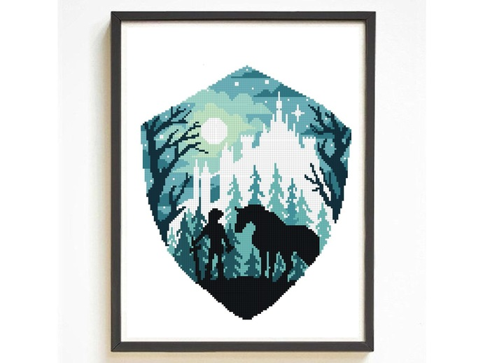 Game inspired silhouette modern cross stitch pattern, hero, nature, legend,