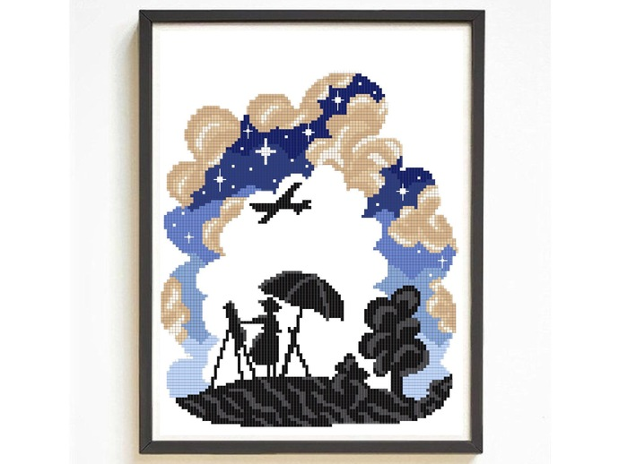 Anime silhouette modern cross stitch pattern, wind, clouds, movie inspired,