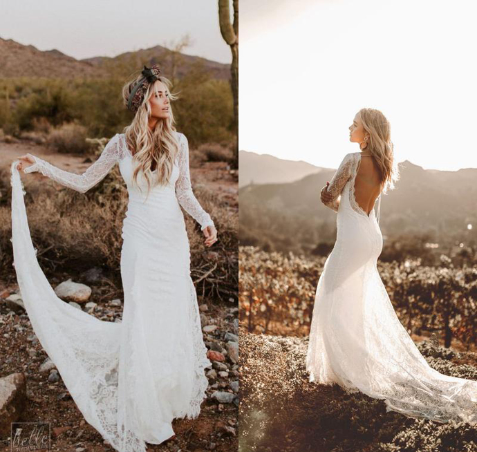 Rustic Country Mermaid Wedding Dresses with Long Sleeves 2019 Modest Vintage