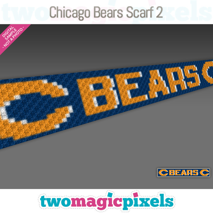 Chicago Bears Scarf 2 pattern; graph; pdf download; C2C row-by-row counts