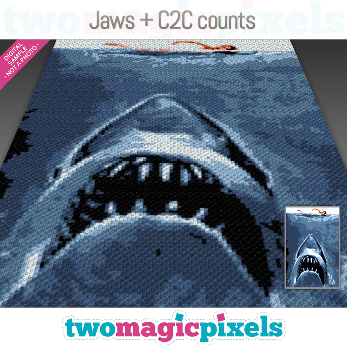 Jaws crochet blanket pattern; knitting, cross stitch graph; pdf download;