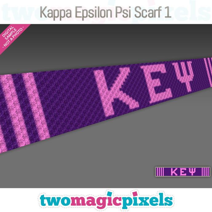 Kappa Epsilon Psi C2C Scarf 1 pattern; KEP; sorority; graph; pdf download; C2C