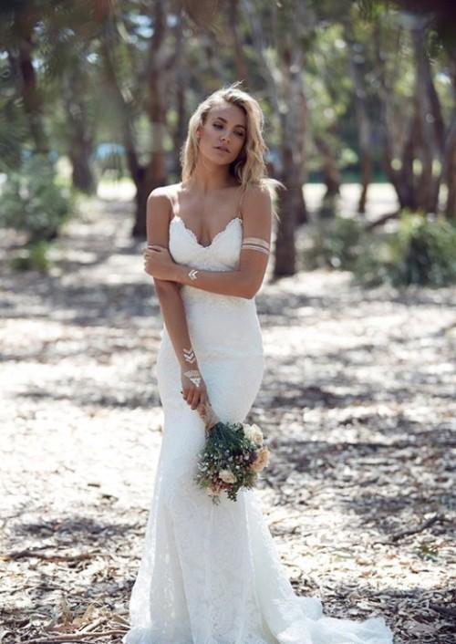 2018 Spring Sumr Bohemian Wedding Dresses Sexy Mermaid Spaghetti Straps Floor