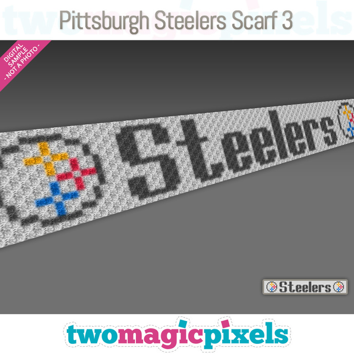 Pittsburgh Steelers Scarf 3 pattern; graph; pdf download; C2C row-by-row counts