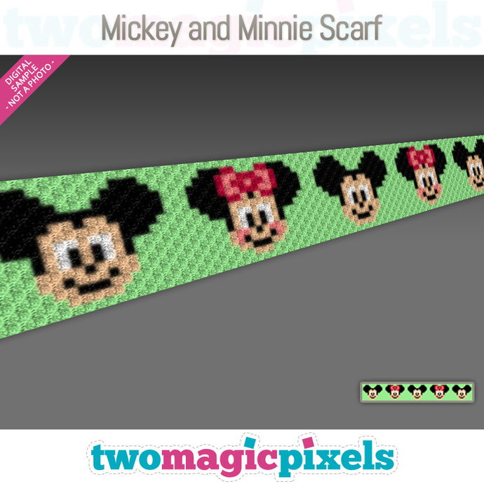 Mickey and Minnie Crochet Scarf pattern; graph; pdf download; C2C row-by-row