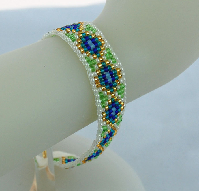 Woven Hand Loomed Seed Bead Cuff Bracelet Plus Size Blue Teal Green Gold