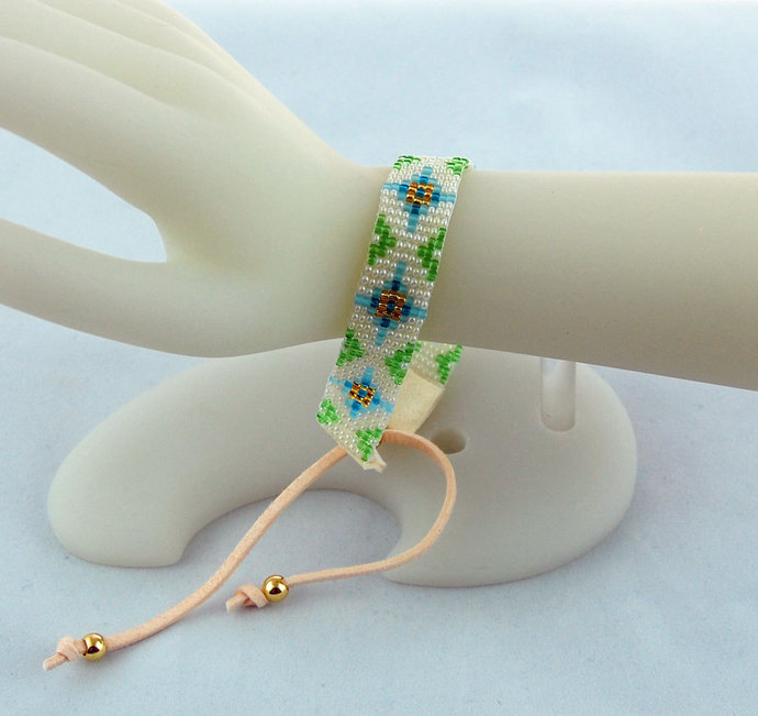 Hand Loom Woven Beaded Medieval Designer Cuff Plus Size Bracelet