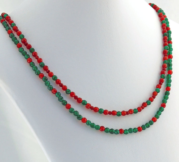 Quartz Red Green Double Strand Necklace Natural Stone