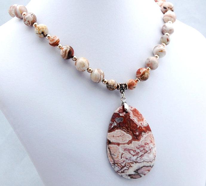 Jasper Rosetta Lace Pendant Necklace Natural Stone