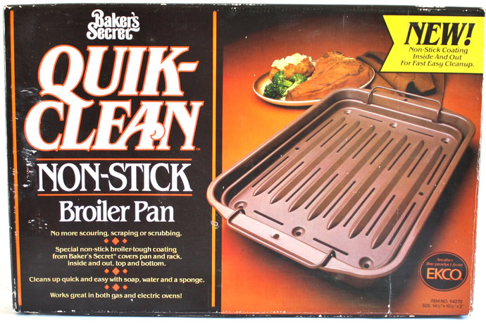 Baker's Secret Broiler Pan, Quik-Clean Non Stick Roasting Tray, Ekco No. 94270