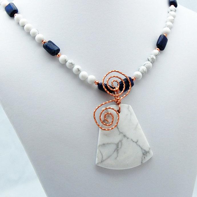White Howlite Lapis Lazuli Copper Pendant Necklace