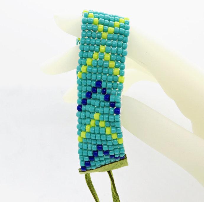 Woven Bead Hand Loomed Cuff Bracelet Plus Size Tribal Southwest Cobalt Blue Lime