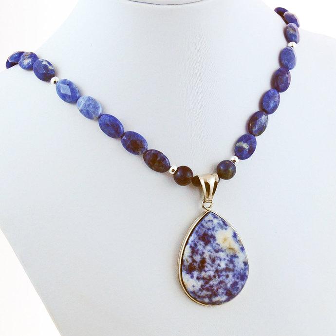 Sodalite Sterling Silver Teardrop Pendant Designer Necklace