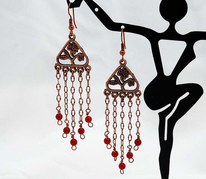 Copper & Red Coral Rose Chandelier Earrings