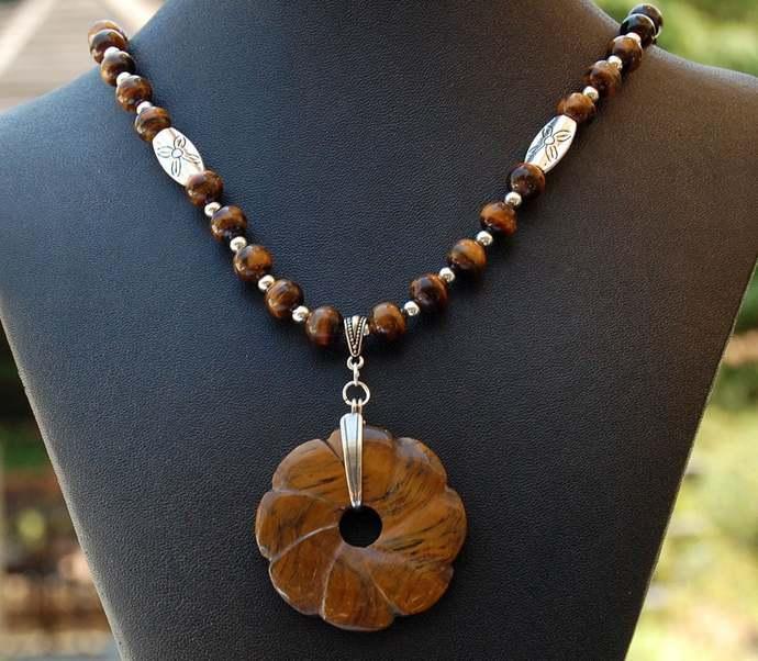 Tiger Eye Petal Natural Stone Designer Pendant Necklace