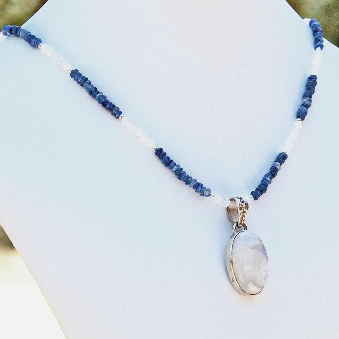 Moonstone Kyanite Pendant Necklace Gemstone Jewelry August Birthstone