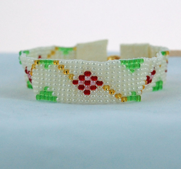 Hand Loomed Woven Seed Bead Cuff Plus Size Bracelet Rambling Rose