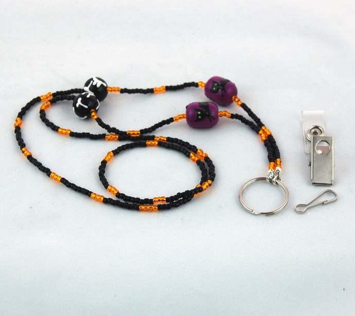 Black Cat Orange, Black and Purple Halloween ID Badge Lanyard and Keyring