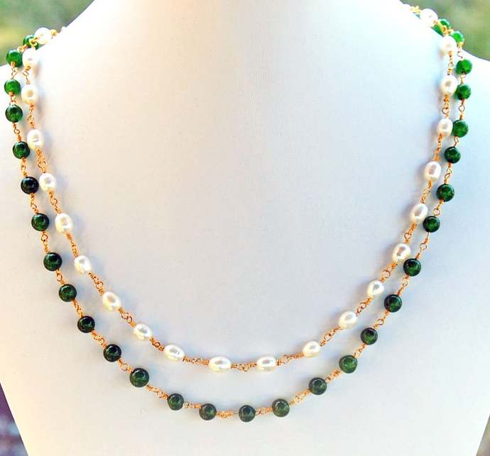 Jade Pearl Double Strand Necklace Natural Stone