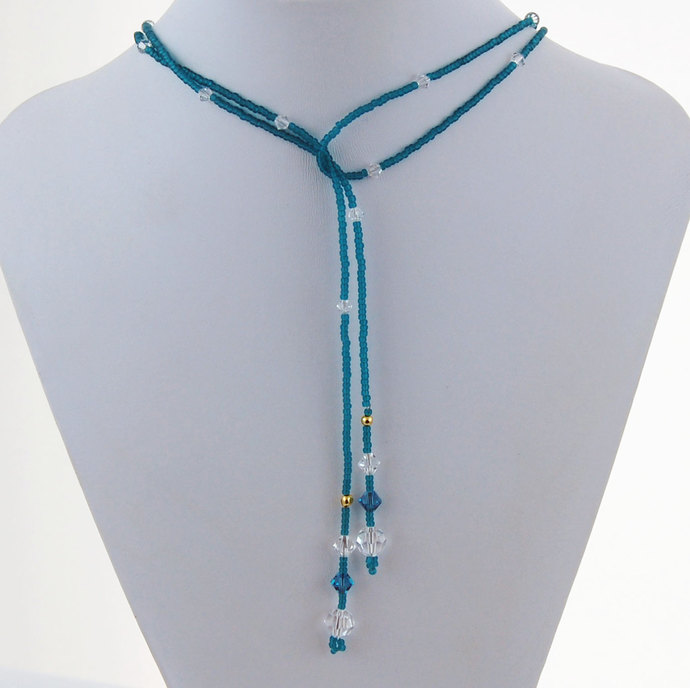 Teal Seed Bead and Swarovski Crystal Long Lariat Necklace