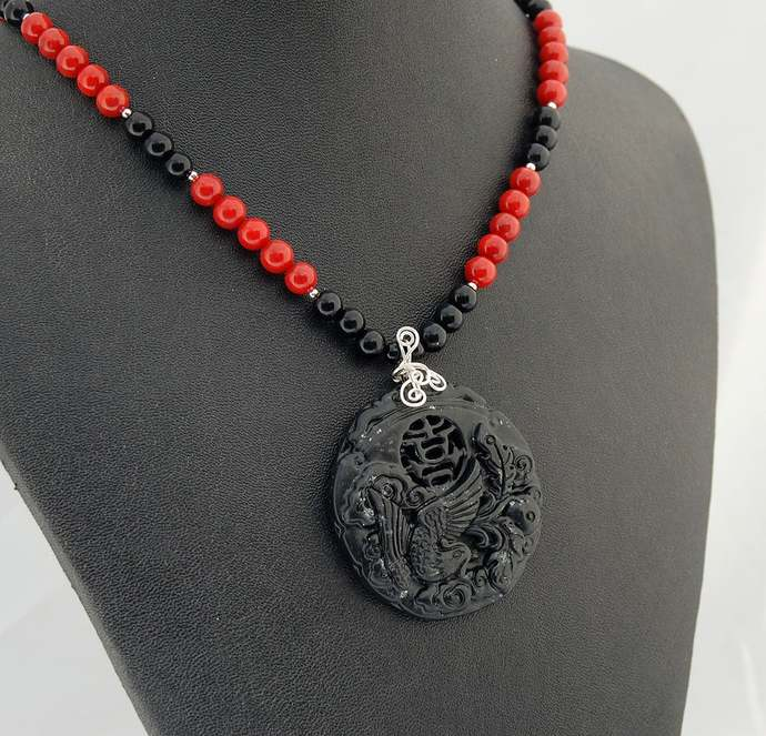 Jade Phoenix Pendant, Coral, Onyx and Sterling Silver Necklace, Statement