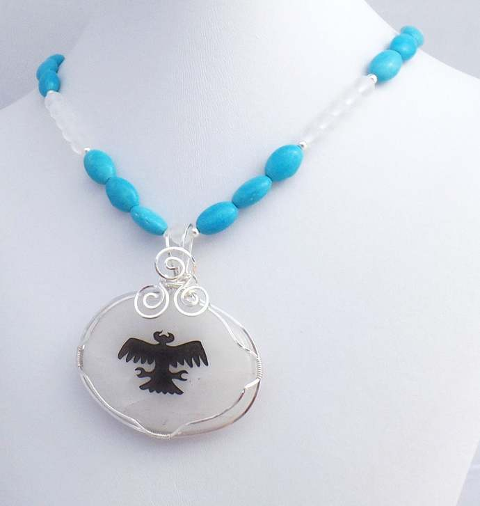 Turquoise Thunderbird Rock Crystal Pendent Necklace, Spirit Animal Totem