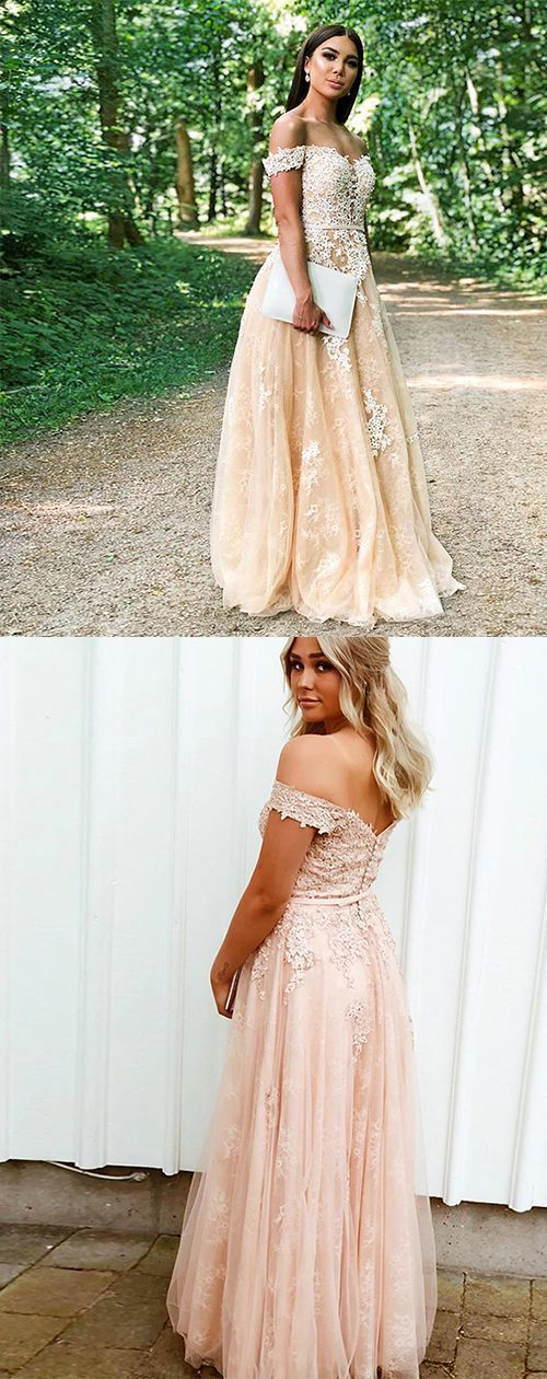Champagne Tulle Evening Dress with Appliques, Off the Shoulder Long Prom Dress