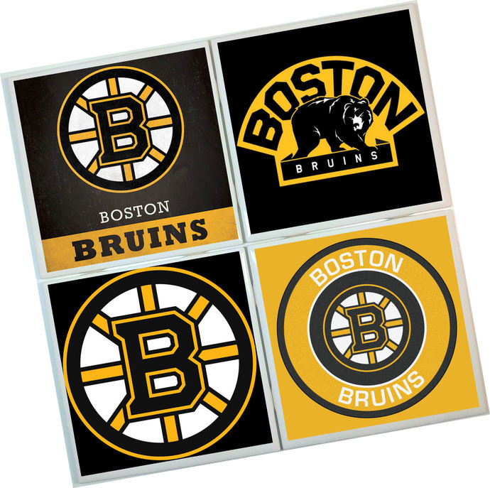 Boston Bruins Coasters - set of 4 tile coasters - NHL, hockey, BOS, B's, New