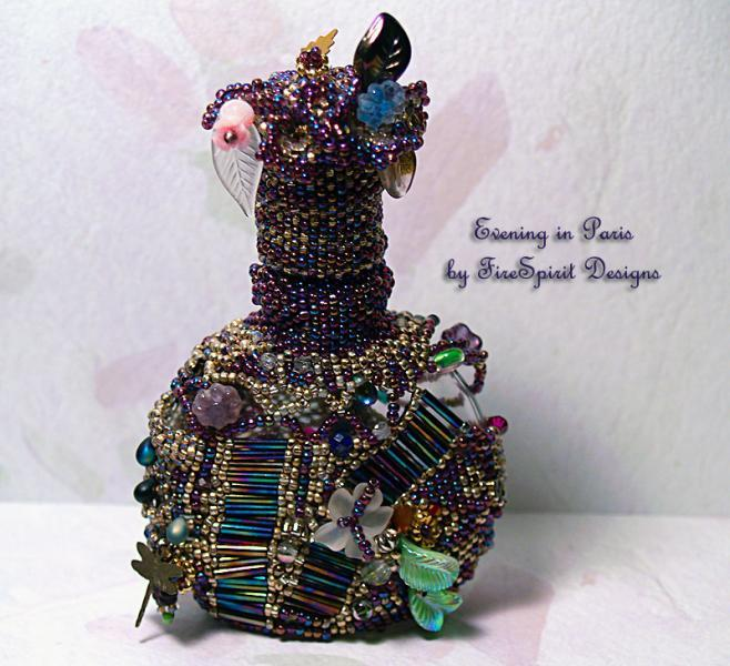 Evening in Paris- beadwoven vintage perfume bottle