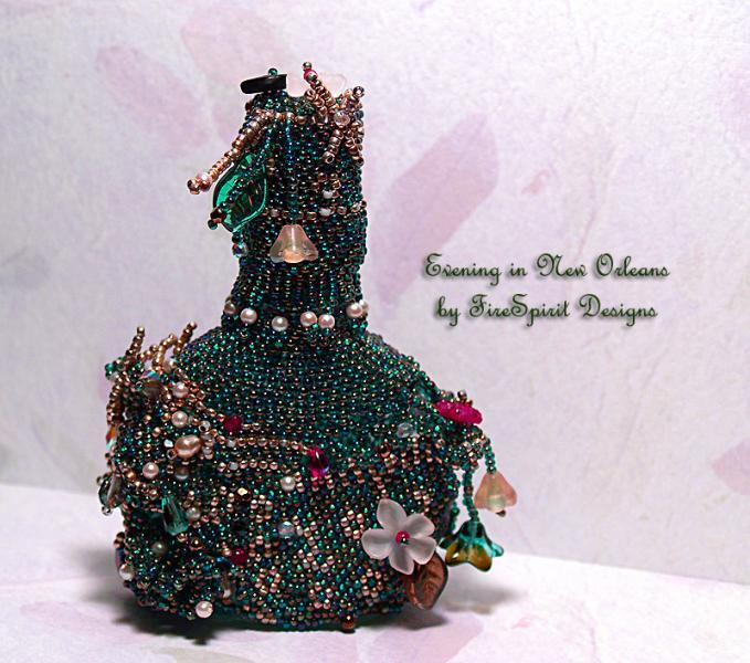 Evening in New Orleans- beadwoven vintage perfume bottle