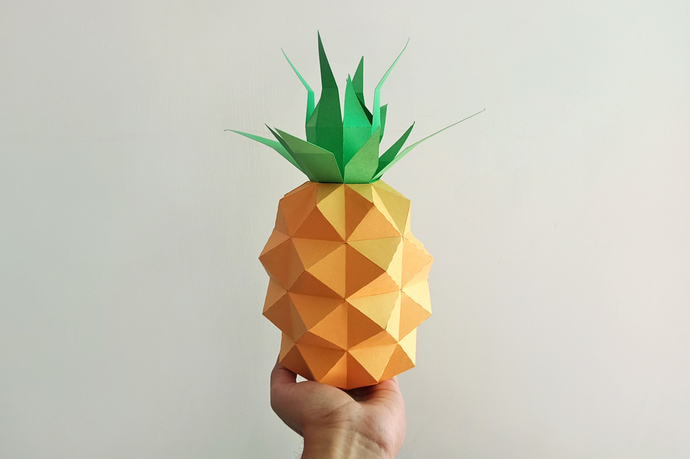 DIY Papercraft Pineapple,Papercraft fruit,Paper toy,Party decoration,Nursery