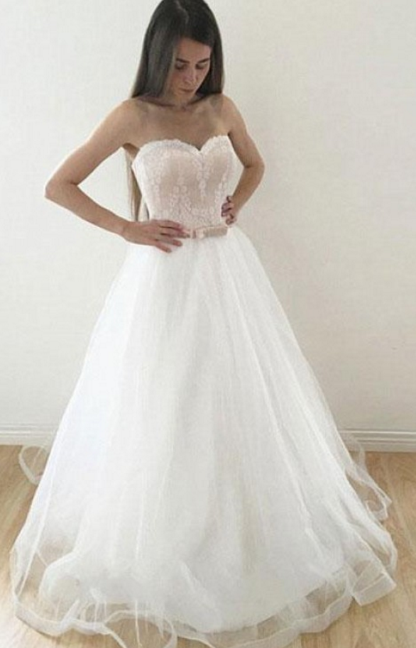 White Tulle Wedding Dress, A Line Wedding Dresses, Lace Bridal Dresses