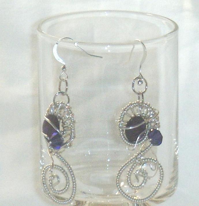 Purple Abalone Cabachon Earrings