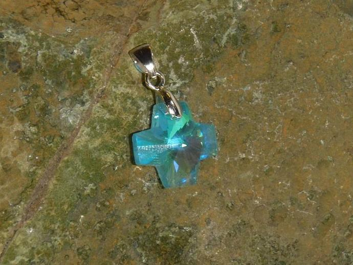 Crystal Pendant- ocean blue cross with AB finish