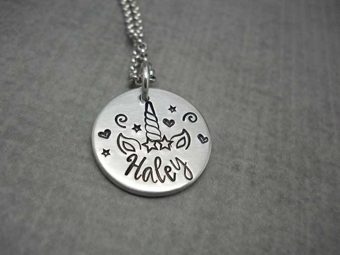 Personalized Unicorn necklace, unicorn name necklace with birthstone, unicorn