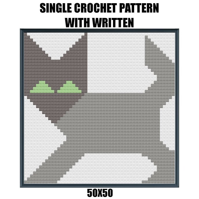 Cat Pillow Crochet Graph Pattern