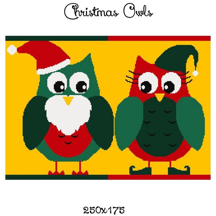 Christmas Owls Blanket Crochet Graph Pattern