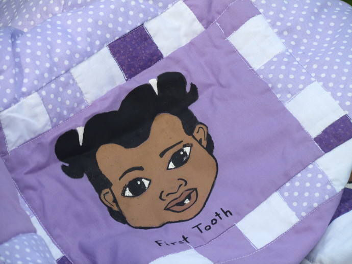 Baby's First Hand painted girl quilt