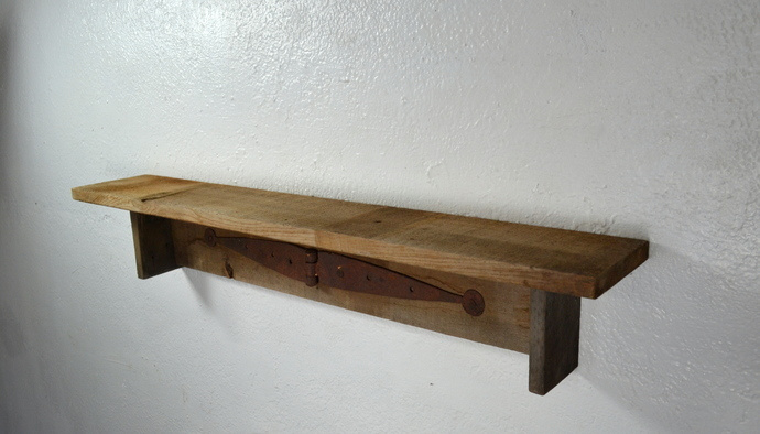 Rustic brown wall shelf 31  wide 5 deep with rusted strap hinge accent