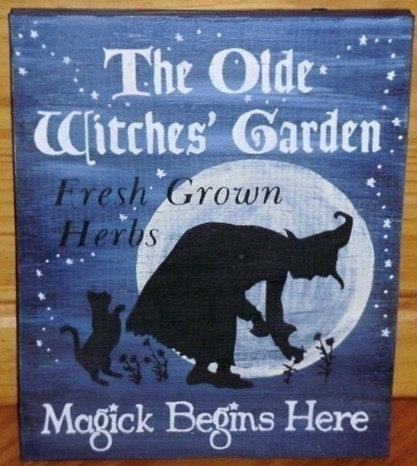 Olde Witches Garden Primitive Witch Sign Halloween decorations Signs Primitives