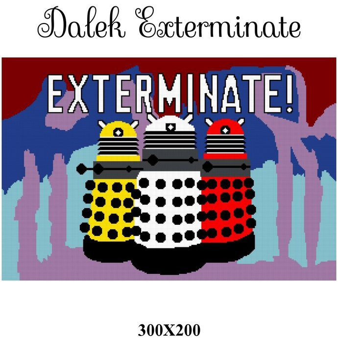 Dalek Exterminate Blanket Crochet Graph Pattern